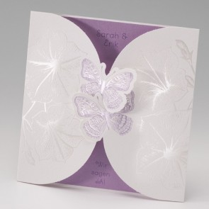 Hochzeitseinladungskarte verspielt, Schmetterlinge