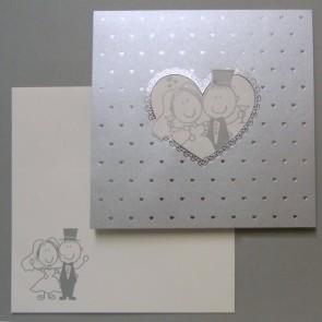 Lustige Hochzeitseinladungskarte mit vielen Herzen - Nr. 725035