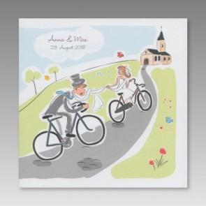 Comic-Hochzeitseinladung mit Brautpaar auf Fahrrad