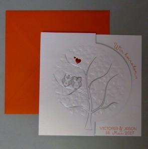 Erstklassige Einladung zur Hochzeit mit Eulen