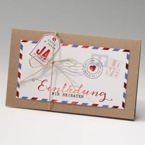 Hochzeit Einladung in Form von Luftpost