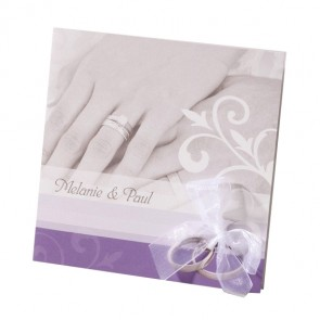 Hochzeitseinladung mit Schleife und Händen
