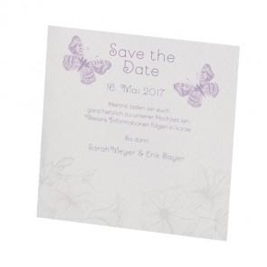 Hochzeit: Save the date Karte mit Schmetterlingen, verspielt