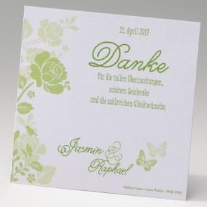 Dankkarte Hochzeit mit grünen Blumen