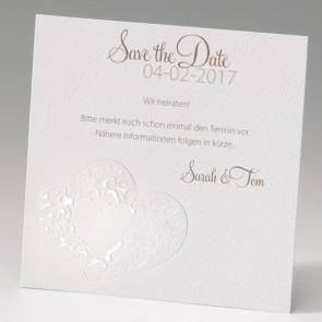 Save the date Karte Hochzeit mit Perlmutt-Doppelherz