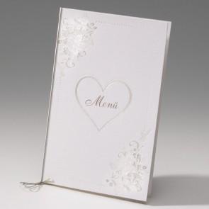 Romantische Menükarte zur Hochzeit mit Herz