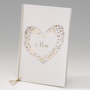 Elegante Menükarte Hochzeit mit Herzen - Nr. 725618