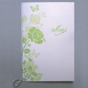Menükarte zur Hochzeit, grüne Blumen