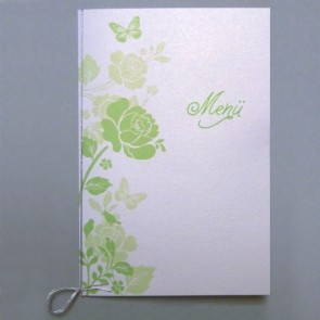 Menükarte inkl. Blumenmuster, grün