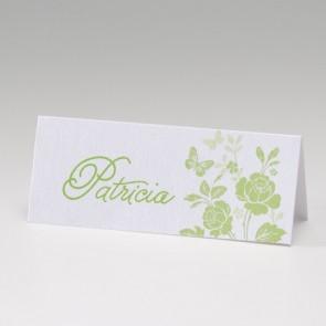 Tischkarte zur Hochzeit, grüne Blumen