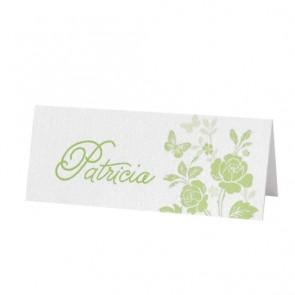 Tischkarte zum Geburtstag: Grünes Blumenmuster
