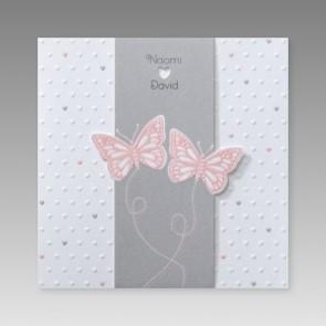 Moderne Hochzeitseinladung mit Schmetterlingen