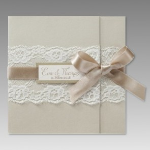 Einladung Hochzeit - elegant mit Spitze
