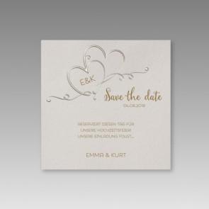 Save the date Karte mit verschlungenen Herzen