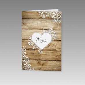 Hochzeit Menükarte mit Holzdielen und einem Herz
