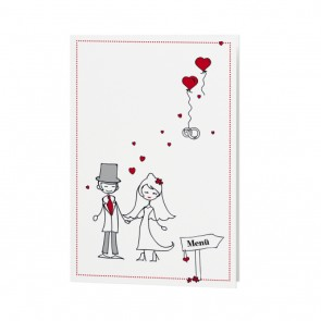 Lustige Menükarte Hochzeit als Comic