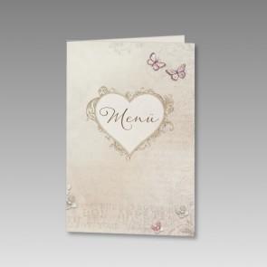 Menükarte Hochzeit mit romantisch verziertem Herz