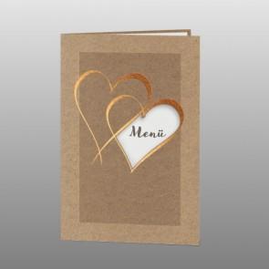 Menükarte zur Hochzeit mit zwei Herzen