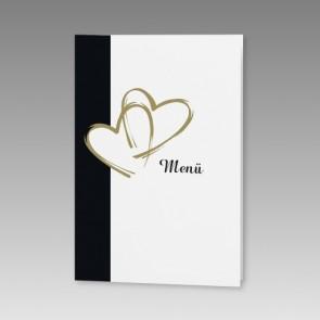 Hochzeitsmenükarte mit goldenen Herzen