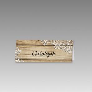 Hochzeit Tischkarte mit gedruckten Holzdielen und Spitzen