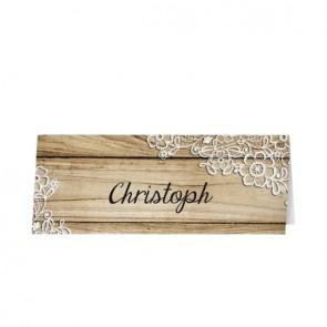 Tischkarte mit gedruckten Holzdielen und Spitzen