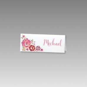 Tischkarte Hochzeit mit Blumen verziert