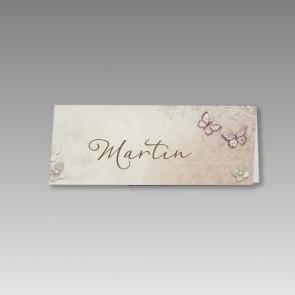 Namenskarten für die Hochzeit mit Schmetterlingen im 6er Bogen