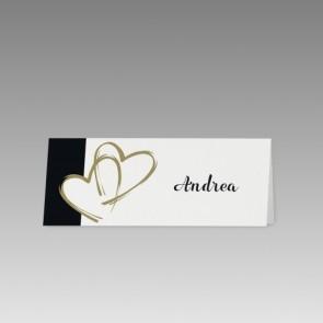 Tischkarte Hochzeit mit goldenen Herzen