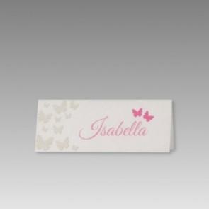 Tischkarten Hochzeit mit Schmetterlingen in Pink