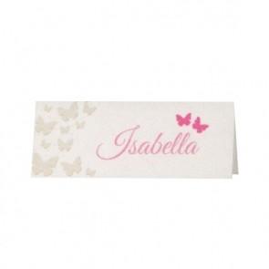 Tischkarte mit Schmetterlingen in Pink