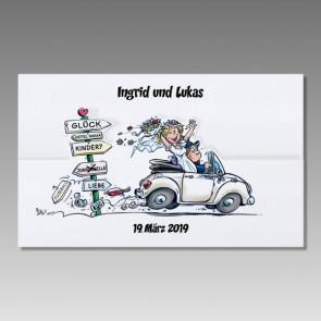 Lustige Hochzeitskarte mit Comic Brautpaar im Cabrio