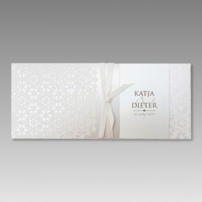 Hochzeitseinladungskarte mit fühlbaren, stilvollen Ornamenten