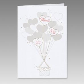 Romantische Menükarte Hochzeit mit Herzchenluftballon