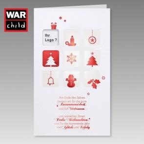 Weihnachtliche Spendenkarte War Child für Firmenlogo