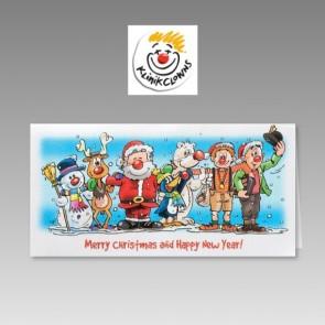 Lustige Weihnachts-Spendenkarte für KlinikClowns