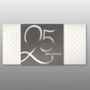 Elegante Einladungskarte silberne Hochzeit