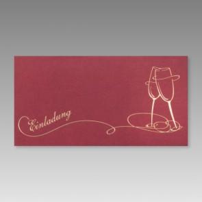 Geburtstagseinladung rot mit goldenen Sektgläsern