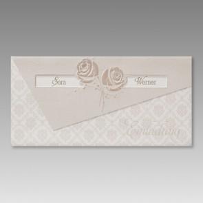 Klassische Einladung Goldhochzeit mit elegantem Rosenrelief