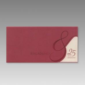 Silberhochzeit Einladungskarte in Rot