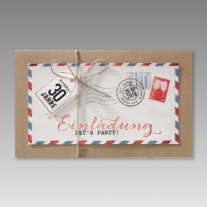 Moderne 30. Geburtstagseinladung im Luftpostdesign