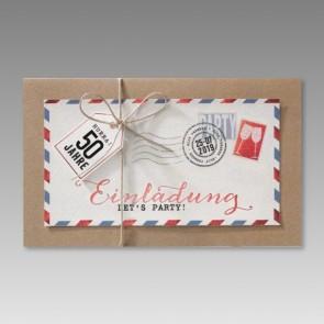 Moderne 50. Geburtstagseinladung im Luftpostdesign