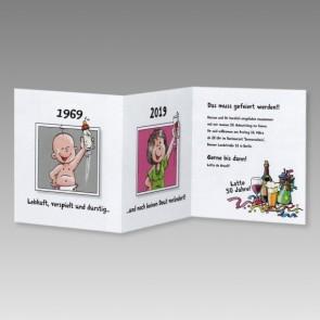 Lustige Frauen Einladungskarte 50. Geburtstag mit Comics