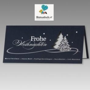 Schöne Weihnachtskarte mit internationalen Grußformeln, blau