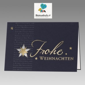 Blaue Weihnachtskarte mit Spendenanteil