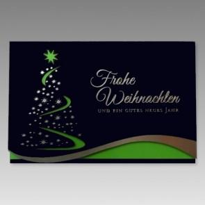Elegante Weihnachtskarte in Dunkelblau und Grün