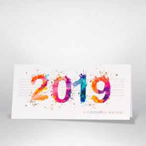 Neujahrskarte – farbenfroh und international