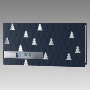 Dunkelblau geprägte Weihnachtskarte