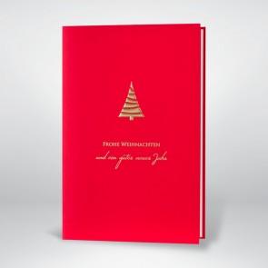Weihnachtskarte mit Goldprägung auf rot