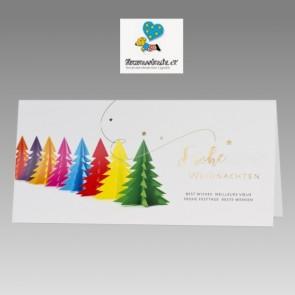 Weihnachtskarte mit Spendenanteil für Herzenswünsche e.V.: Bunte Bäume