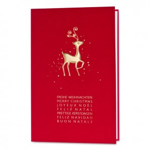 Rote Klappkarte mit goldenem Rentier - 868066